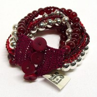 Armband rot/silber